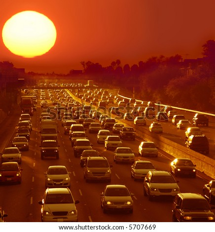 Traffic jam in Los Angeles at sunset - stock photo