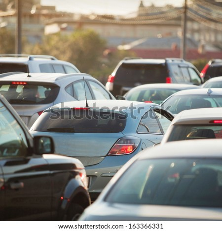 Traffic Jam in rush hour, cars on the road