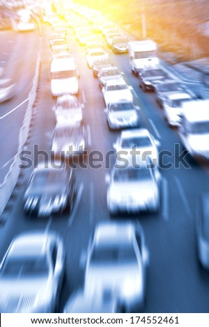 traffic jam in the rush hour - stock photo