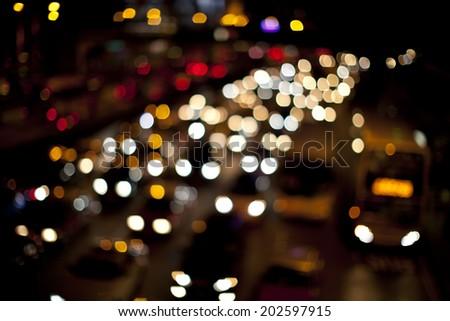 traffic jam lights on road - stock photo