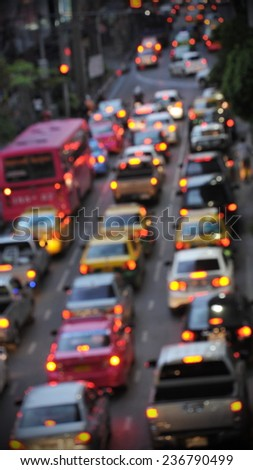 Traffic Jam on a City Road - Image Has Soft Focus