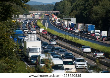 traffic jam on interstate - stock photo