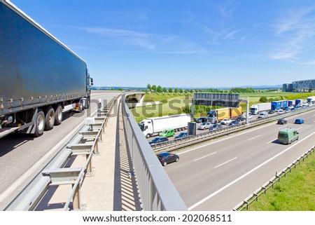 Traffic jam on Stuttgart highway A 8 - stock photo