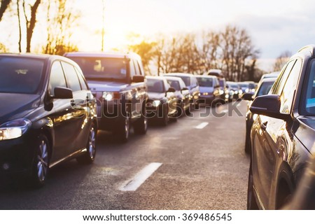 traffic jam on the highway, cars stopped on the road - stock photo