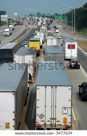 Traffic Jam on the Interstate - stock photo