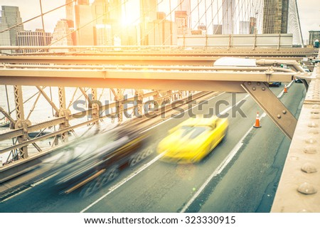 traffic jam view from the popular brooklyn bridge. concept about traveling in the Usa, transportation and landmarks - stock photo
