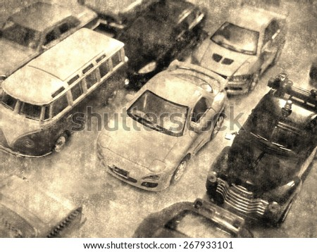 Traffic jam, vintage background. Old postcard, design in grunge and retro style. - stock photo