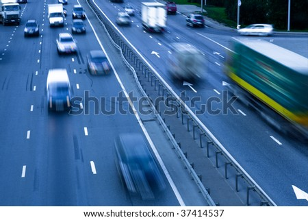 Traffic jam with autos on the road - stock photo