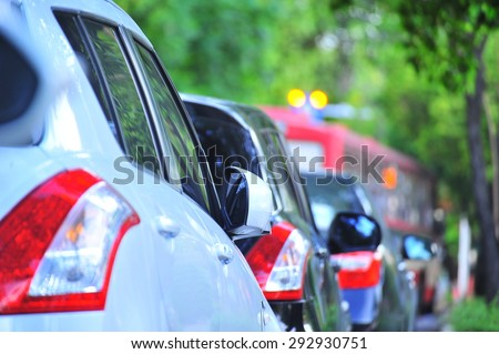 traffic jam with many cars on express way in Bangkok  - stock photo
