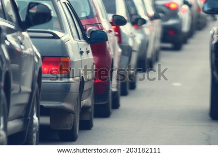 traffic jams in the city, road, rush hour - stock photo