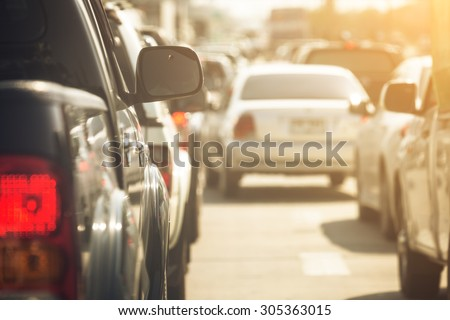 Traffic jams in the city - rush hour - stock photo