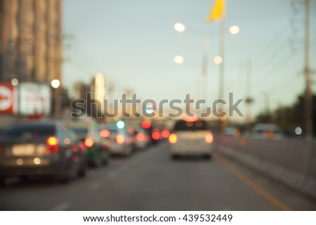 Traffic jams in the city - rush hour. Rainy season soft focus and over blurry - stock photo