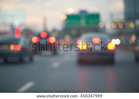 Traffic jams in the city - rush hour soft-focus and over blurry - stock photo