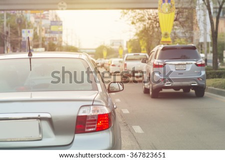 Traffic jams in the city - rush hour. vintage filter - stock photo
