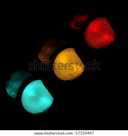 traffic light all colors - stock photo