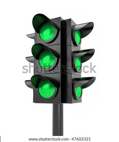 Traffic light. All Green - stock photo