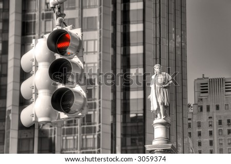 Traffic light and Columbus Statue - Columbus Circle - Manhattan - New York - United States of America - stock photo