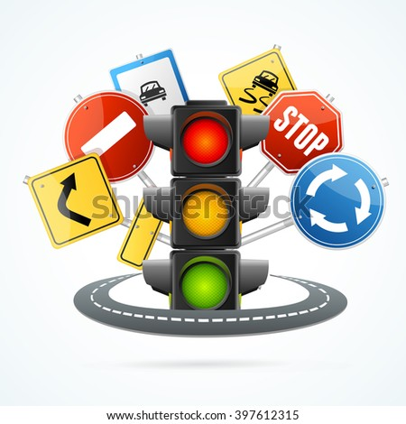 Traffic Light and Road Sign Concept. illustration