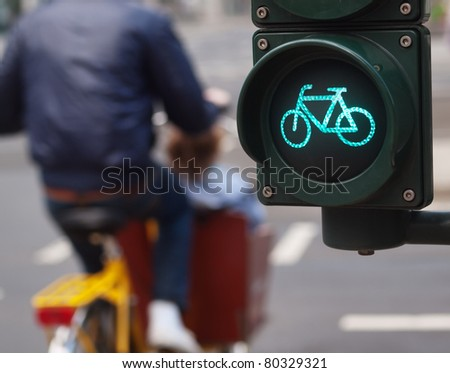 Traffic light bike sign - stock photo