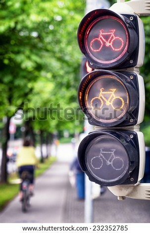 traffic light for bikes - close up