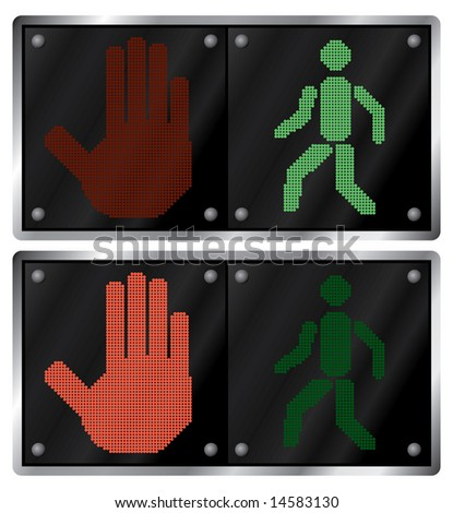 Traffic light for people. Variants. Raster illustration. Isolated on white background. - stock photo