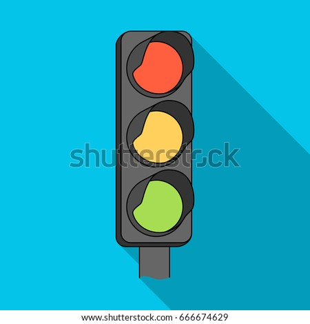 Traffic light for vehicles.Car single icon in flat style raster, bitmap symbol stock illustration web.