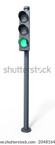 Traffic light green (isolated on white and clipping path) - stock photo