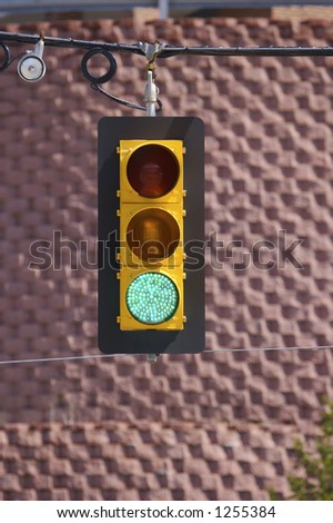 Traffic Light (Green) with Copy Spce - stock photo