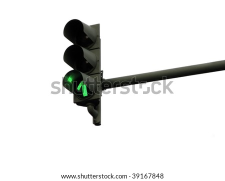 Traffic light in green isolated on white background - stock photo