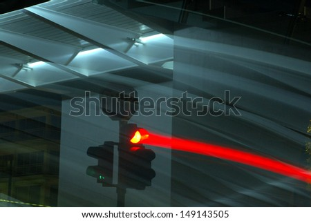 Traffic Light in Motion - stock photo