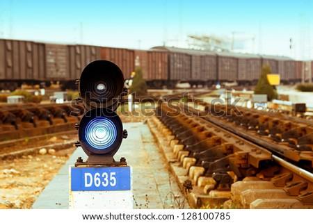 Traffic light in railroad - stock photo