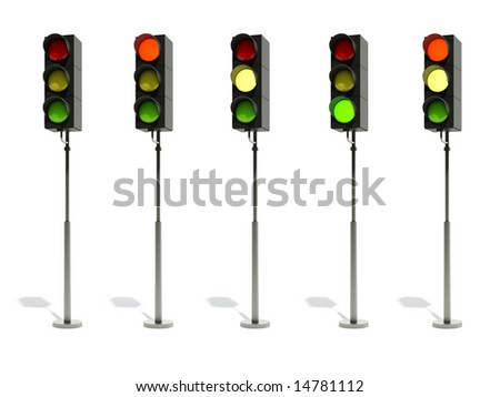 traffic light isolated on white - stock photo