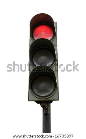 traffic light isolated on white - stock photo