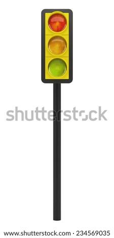 traffic light isolated on white background - stock photo
