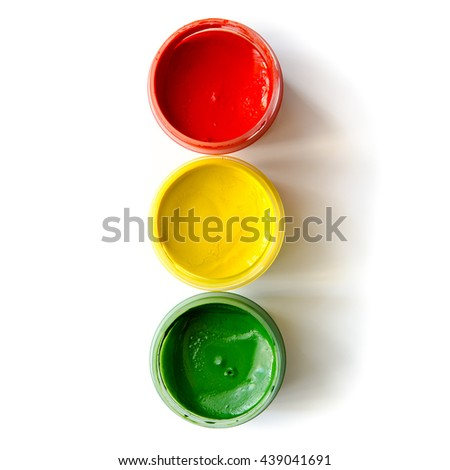 traffic light made of paints isolated on a white background - stock photo