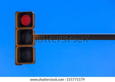traffic light on the background of sky - stock photo