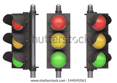 Traffic light over white background, easy to isolate. - stock photo