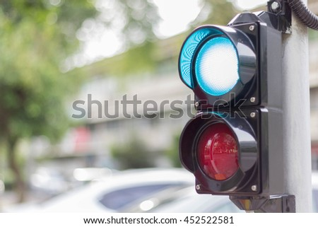 Traffic light shows Green signal for pass, copy space