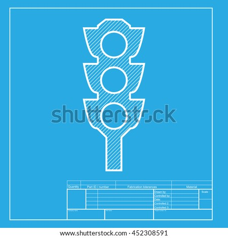 Traffic light sign. White section of icon on blueprint template. - stock photo