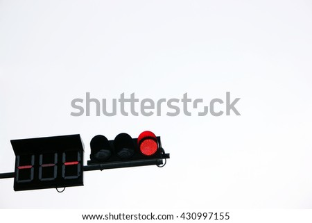 Traffic light signs shows red signal isolated in white background . No Entry - stock photo