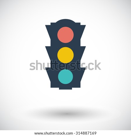 Traffic light. Single flat icon on white background.  illustration.