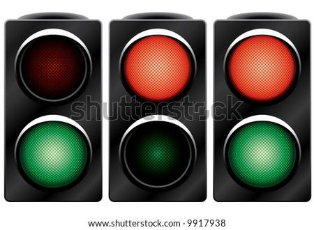 Traffic light. Variants. Raster vector illustration. Isolated on white background. - stock photo