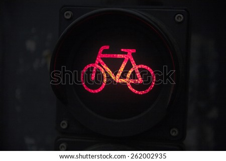 Traffic light with bike sign for bikers. Close up - stock photo
