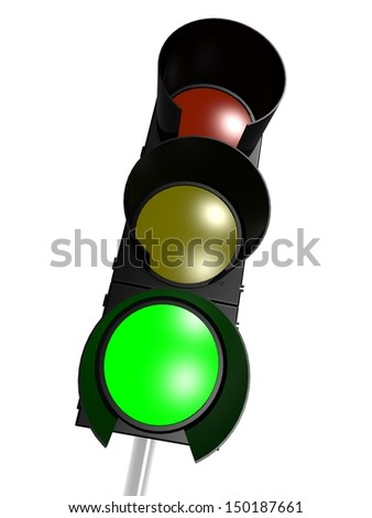 Traffic light with 3 green