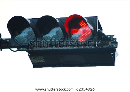 Traffic Light with red stop sign for turing right - stock photo