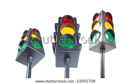 traffic light with red, yellow and green light in three different low angle shot - stock photo