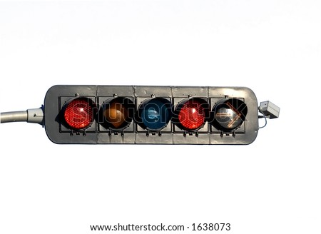 Traffic Light  with right turn arrow  on White Background, Montreal, Canada - stock photo