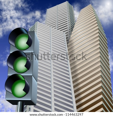 Traffic light with three green lights and city business buildings in the background / Green light for business