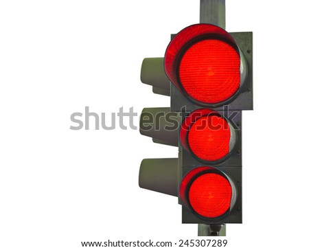 traffic light with three red lights on isolated on white background