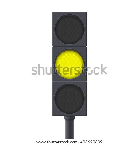 Traffic Light. Yellow light on. Illustration isolated on white background. Raster version